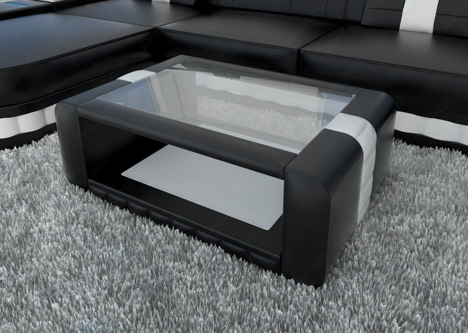 Die Kombination Aus Holz Leder Und Glas Macht Den Couchtisch Bellagio Zu Einem Eyecatcher In Ihrer Wohn Leather Coffee Table Living Room Sofa Design Cool Beds