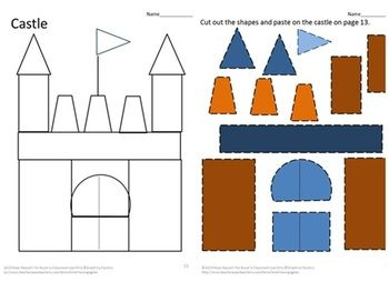 cut out castle template - shapes cut and paste fine motor activities special
