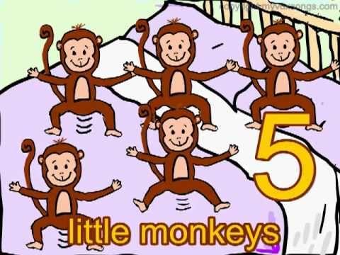 Five Little Monkeys Jumping On The Bed Preschool Songs Kindergarten Songs Kids Songs