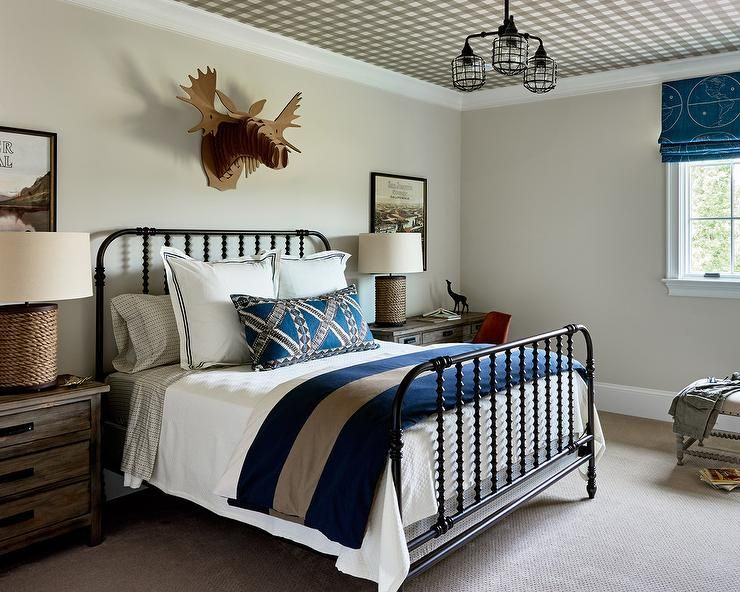 Well Designed Cottage Bedroom Boasts Gray Walls Complementing A Black And  White Plaid Wallpapered Ceiling Holding