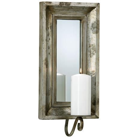 Mirrored Wall Sconce abelle etruscan slate mirror pillar candle holder sconce | wall