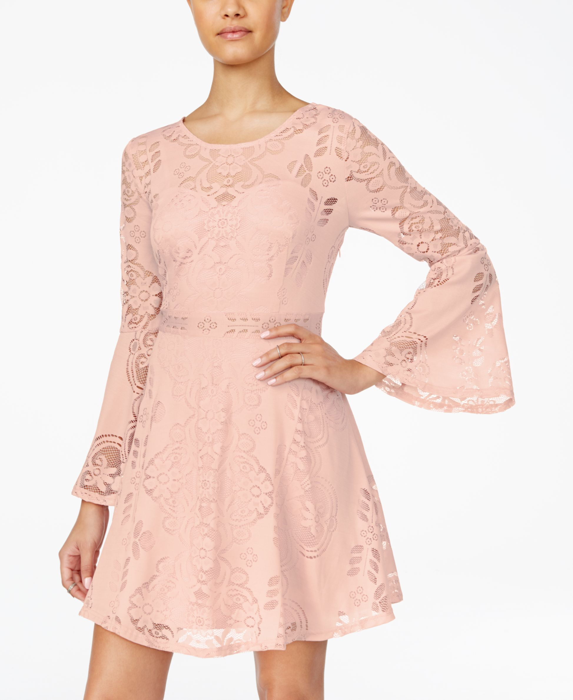 635739b78061 American Rag Juniors' Bell-Sleeve Burnout Lace Dress, Only at Macy's ...