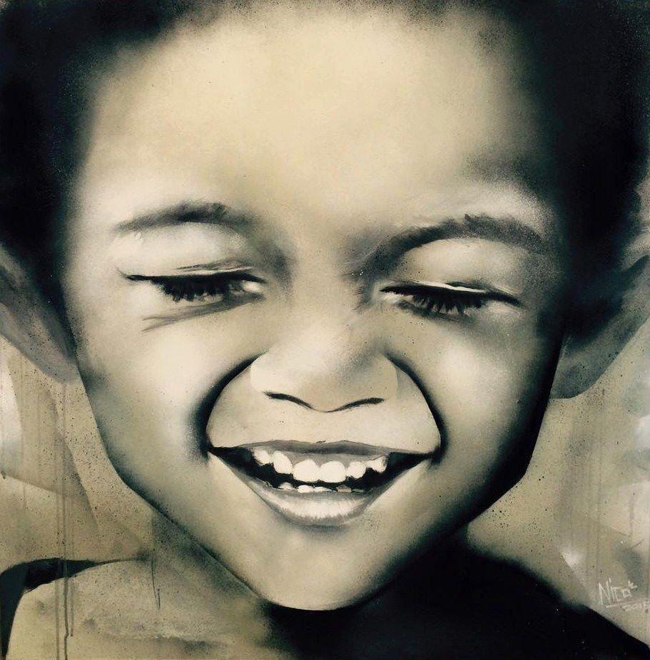Opera Pittorica: # SMILE / -2. Artista: Nicola Grotto  100x100, acrilico e spray su tela, 2015