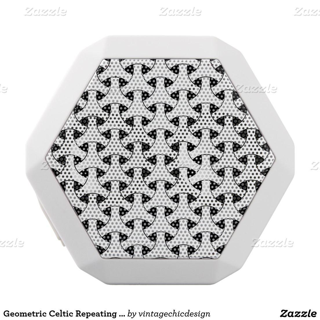 Geometric Celtic Repeating Pattern Modern White Boombot Rex Bluetooth Speaker