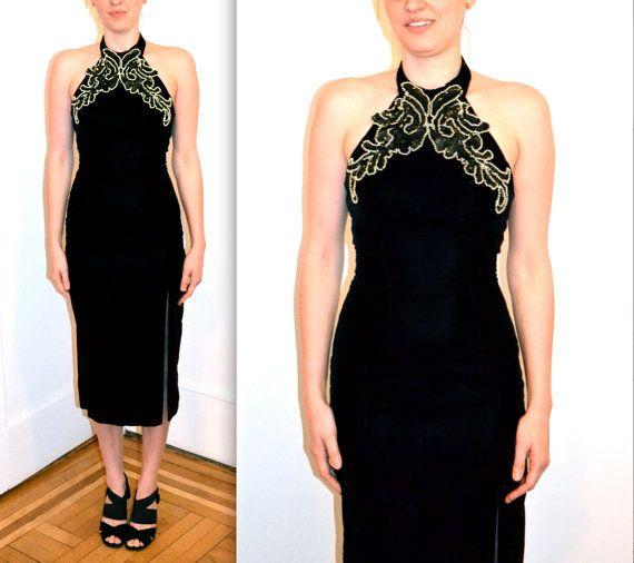8804cd070fe 90s Prom Dress in Black Velvet Dress X Small   Vintage Evening Gown Black  Velvet with Halter Top XS