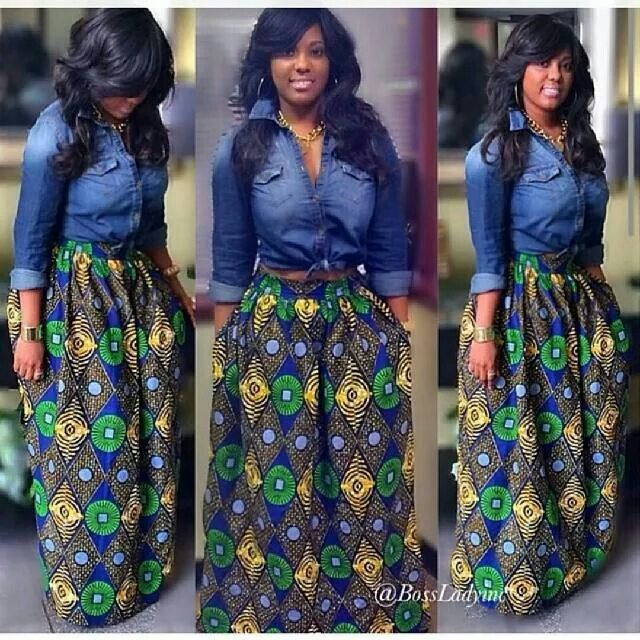 44eec5f845 Denim shirt and African-print, long skirt Latest African Fashion, African  Prints, African fashion styles, African clothing, Nigerian style, Ghanaian  fashion ...