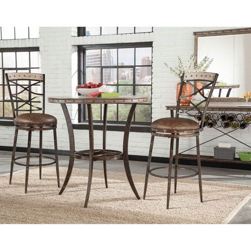 Hillsdale Furniture Emmons Washed Gray 3 Piece Bar Height Bistro Dining Set