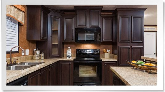 coffee cherry cabinets from champion homes omg love love love kitchen pinterest