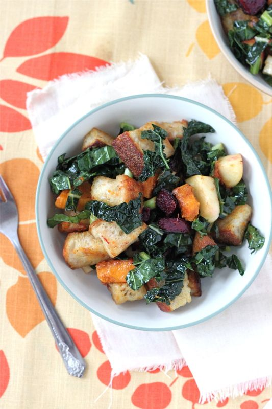Winter Panzanella--the goodness of root veggies, kale, and sour dough bread come together for my dinner tonight. Hurrah for unique winter salads!