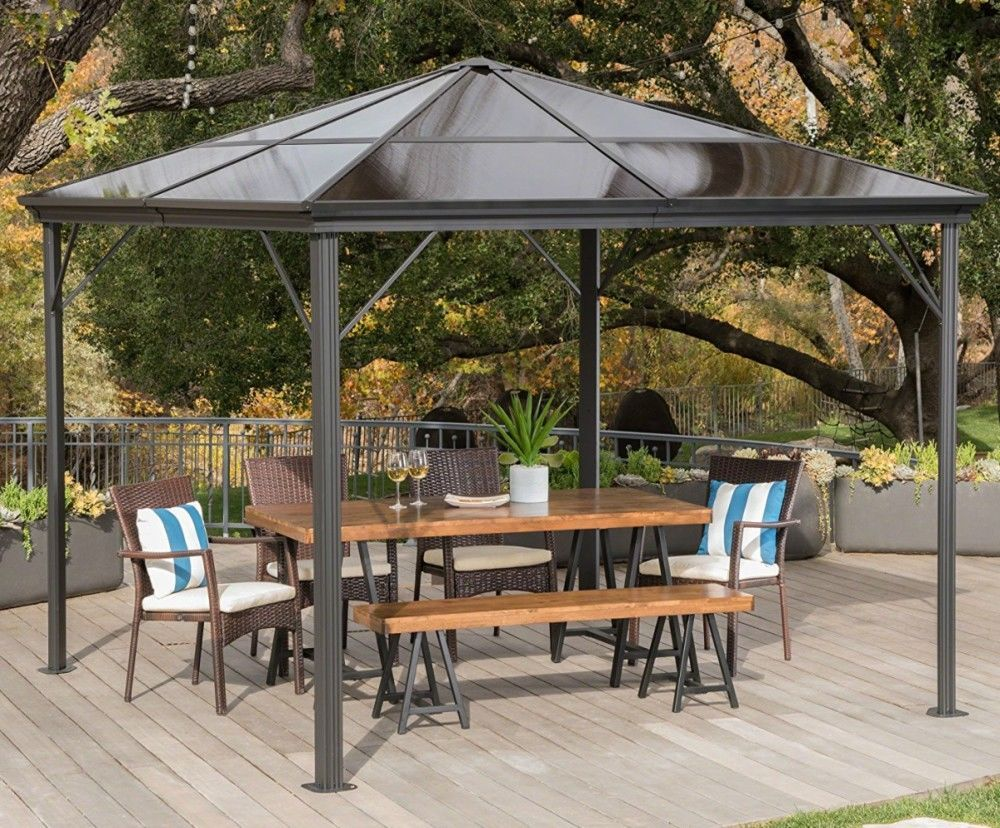 Hard Top Gazebo Aluminum Pergola Metal Large 10x10 Outdoor Canopy Shelter Shade Hardtopgazebo Canopy Outdoor Patio Canopy Minimalist Garden