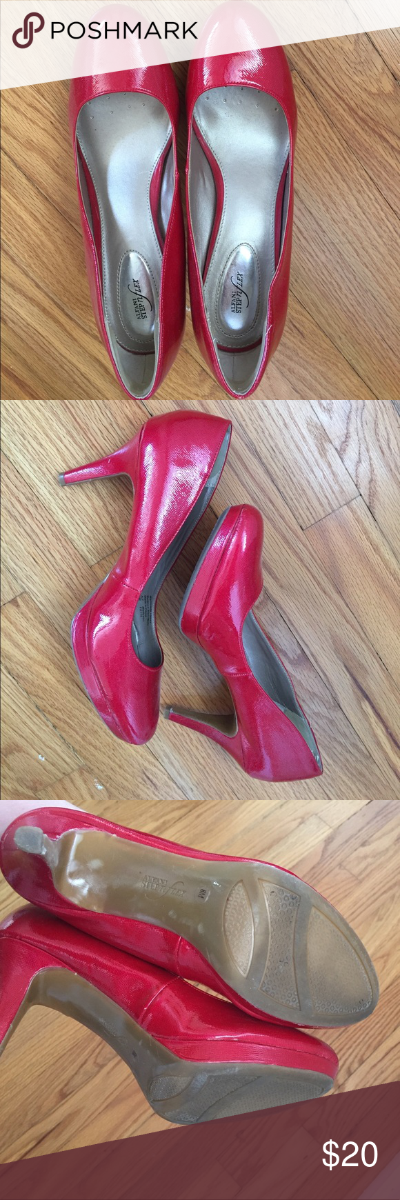 EUC red patent pumps. Alfani Step N Flex. Size 8M EUC. Worn once to a wedding and danced the night away, so shoes carry good vibes in their souls/soles. A fun and pretty shoe to make a statement. Alfani Shoes Heels
