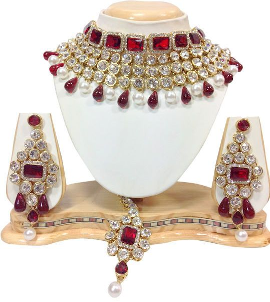 Wedding Indian Bollywood Mehroon Stone Kundan Bridal