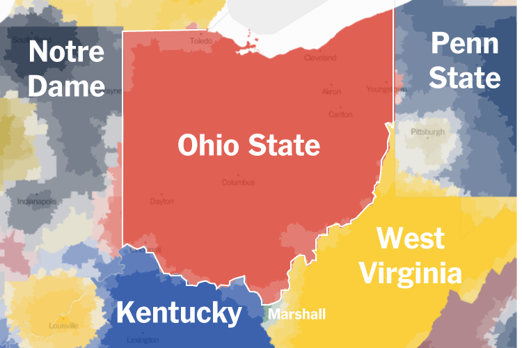 N.C.A.A. Fan Map How the Country Roots for College