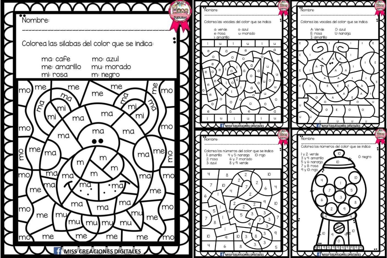 Colorea Y Descubre El Dibujo Con Silabas Letras Y Numeros