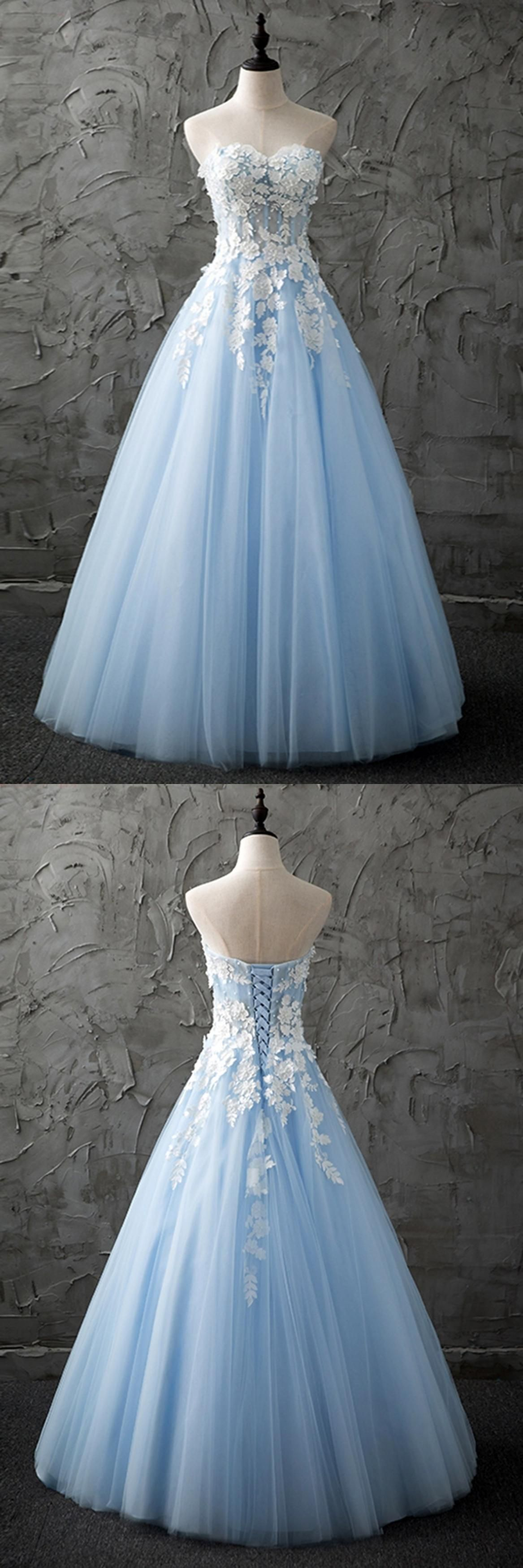 Sweetheart blue tulle long customized evening dress with appliques