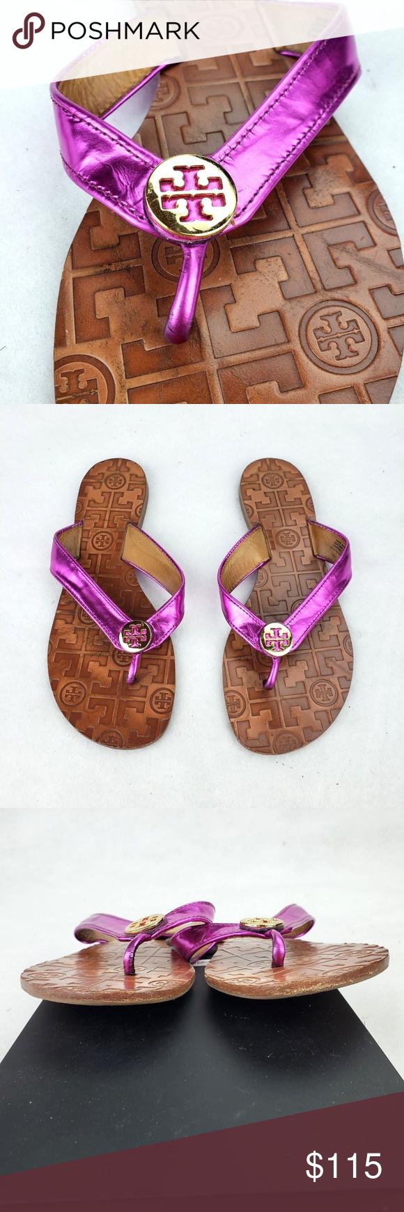 8a41a6623f56 Tory Burch Sandals Purple Shiny Thora Size 7 Tory Burch Thora Sandals Flip  Flops Shiny Purple
