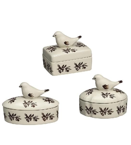 Bird Toile Set of 3 Porcelain Boxes