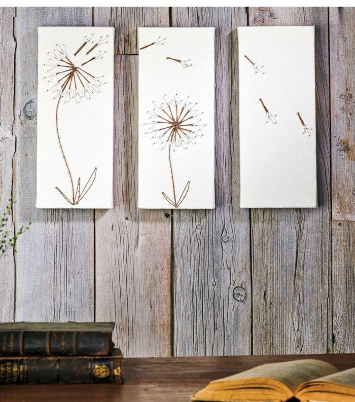 wandideen string art wandgestaltung pusteblumen pursitisch diy - wandideen