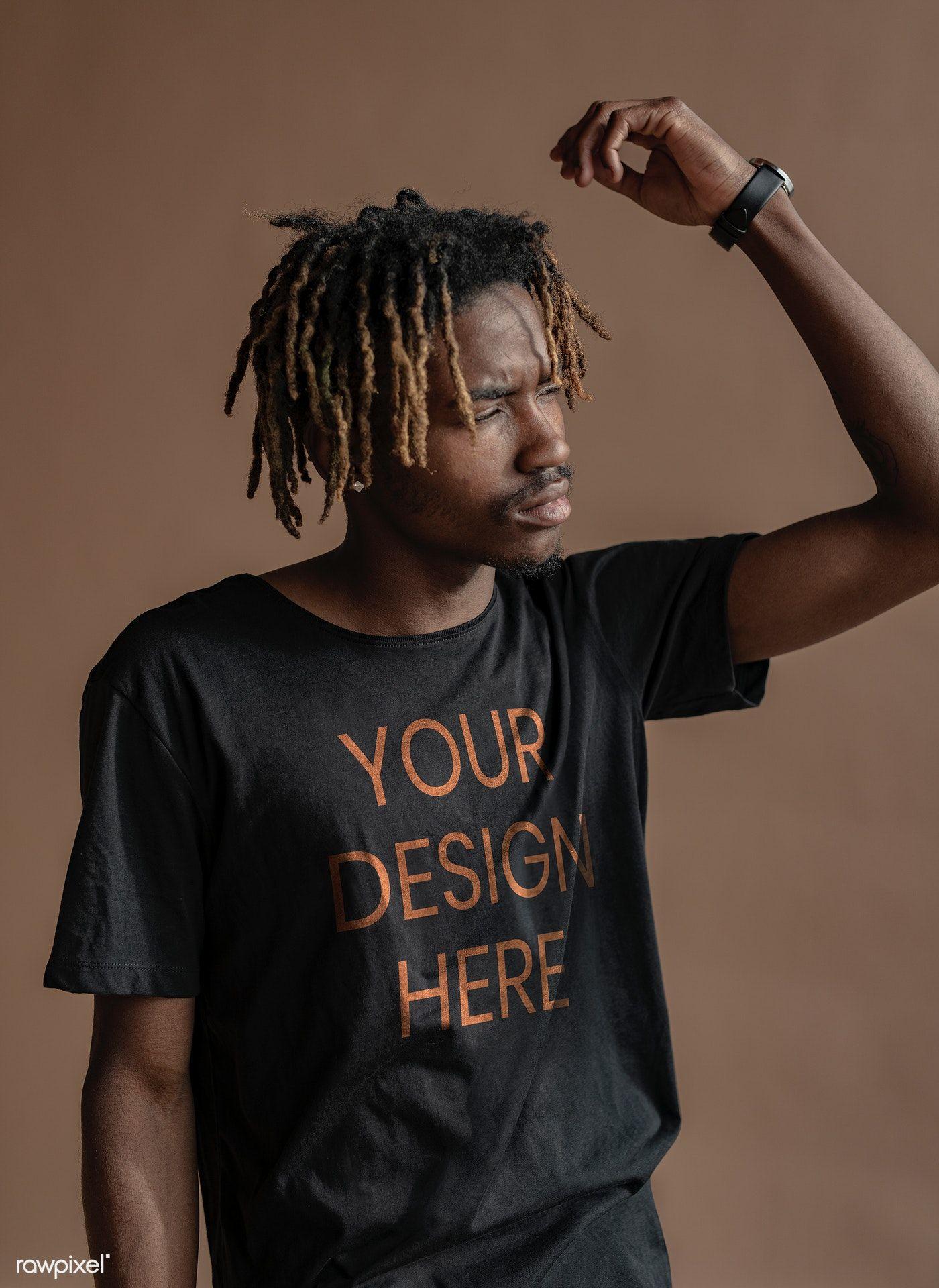 Download Download Premium Psd Of Black Man Wearing A T Shirt Mockup 1213816 Shirt Mockup Tshirt Mockup Mockup