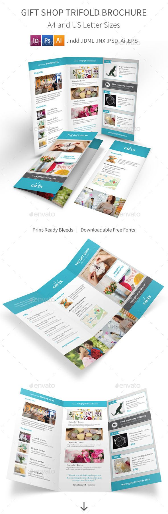 Gift Shop Trifold Brochure Informational Brochure Template PSD - Informational brochure template
