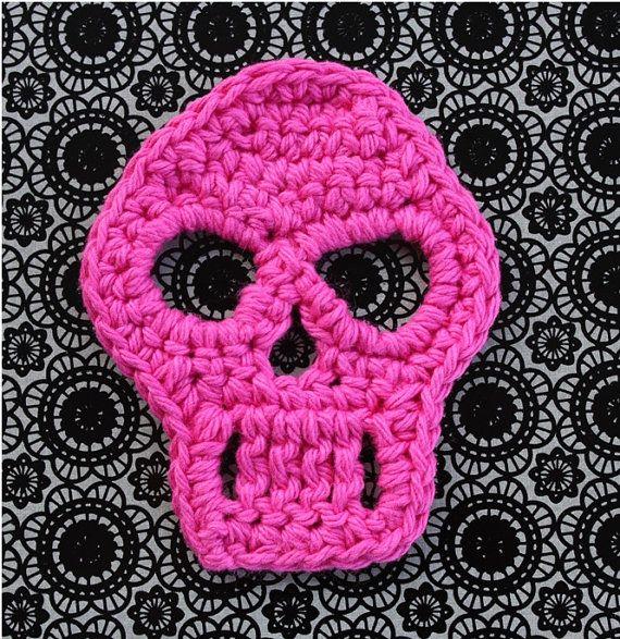 Crochet Skull Pattern Skull Applique Pattern Motif Crochet Sugar ...