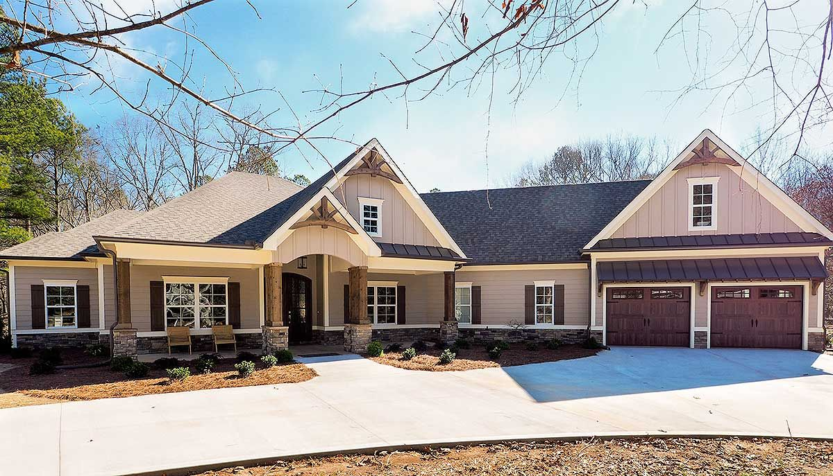 Plan 36031dk Craftsman House Plan With Angled Garage Craftsman House Craftsman House Plan Craftsman House Plans