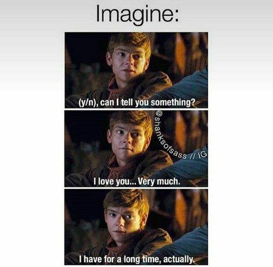 Me: Newt, can I say something crazy? Newt: I love crazy. Me: I have loved you since I first got here  (You thought I was going to break into song, didn't you?)