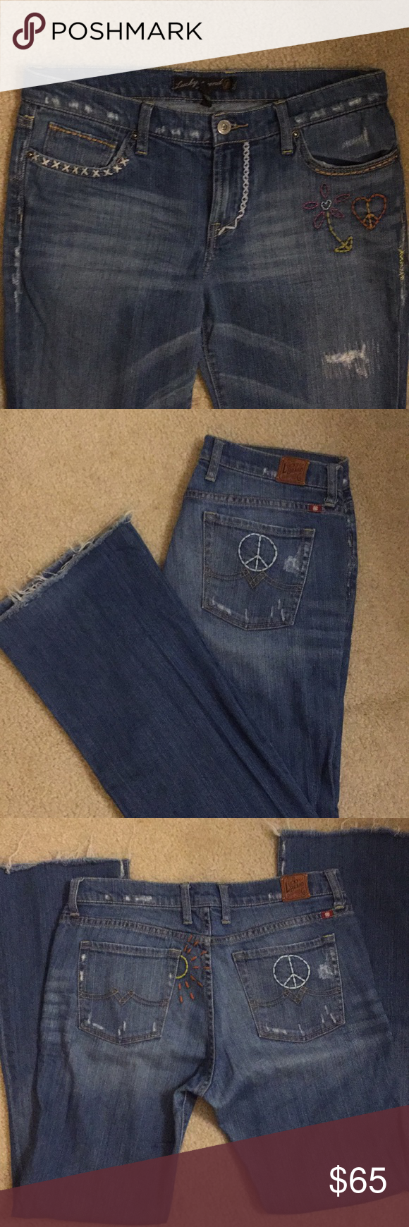 Image 1 of Lucky Brand Bridgette Embroidered Cropped Straight-Leg Jeans