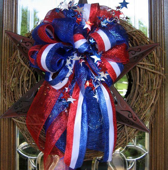 TEXAS STAR Grapevine Wreath with PATRIOTIC Bow by decoglitz