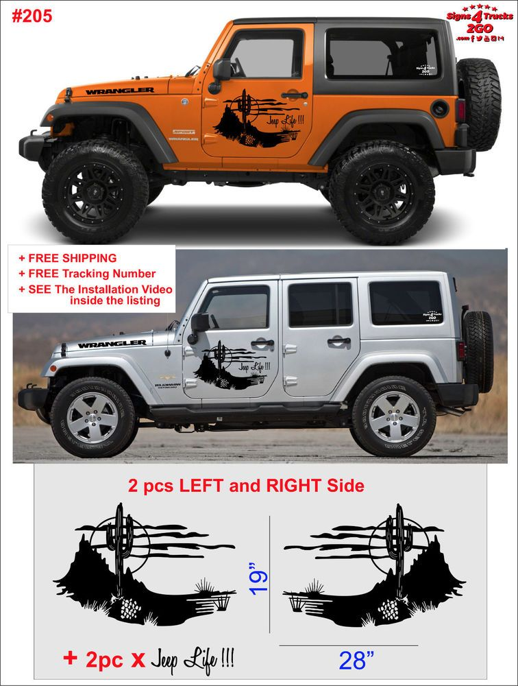 0700 2pcs Wrangler Grunge Hood Side Decal Graphic Jeep Wrangler