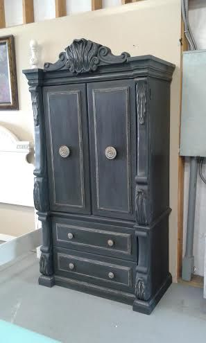 Black Chalk Painted Armoire And A Splash Of Gold Painted Armoire Painting Furniture Diy