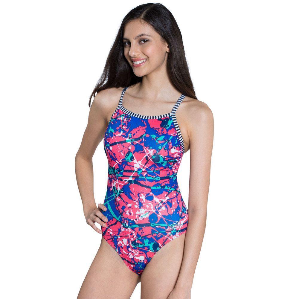 b46948de27425 Women's Dolfin Uglies V-2 Printed One-Piece Swimsuit, Size: 34 Comp, Splat
