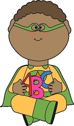 Superhero Clip Art For Teachers  Superhero With Alphabet Letters