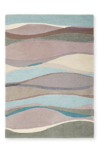 Buy Wool Wave Teal Rug From The Next UK Online Shop