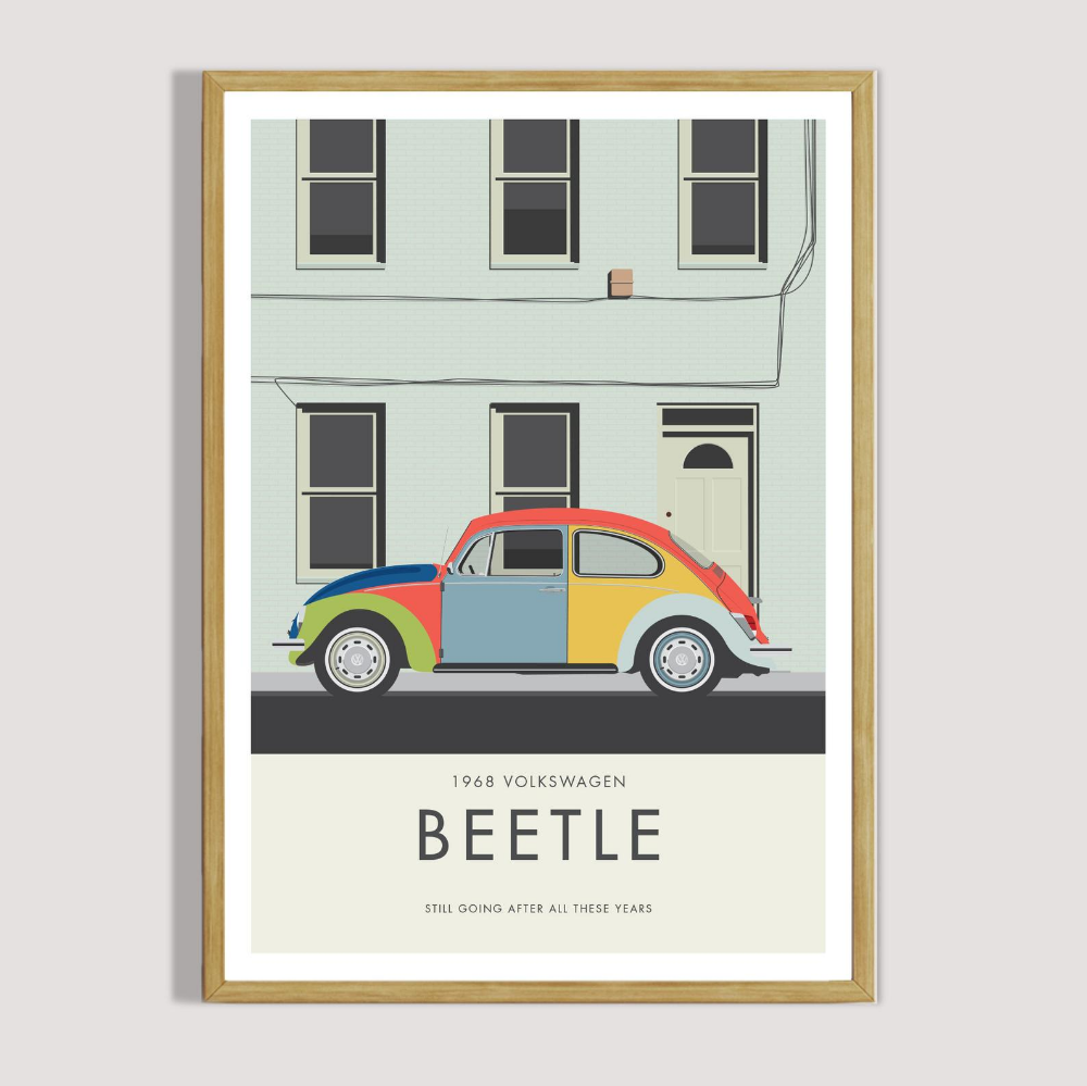 Beetle Still Going Poster Parts Are Easy To Get Ad Classic Vw Car Poster Iconic Volkswagen Bug Illustration Wall Art Illustration Wall Art Vw Beetles Volkswagen