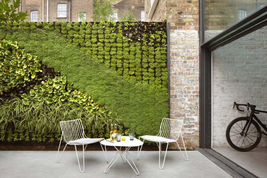 A green wall flanking this patio space on two sides ...