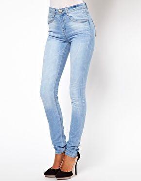 91dbb2430af ASOS Ridley Supersoft High Waisted Ultra Skinny Jeans In Ice Blue Vintage  Wash