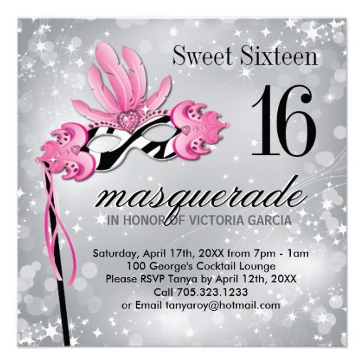 Sweet Sixteen Masquerade Party Invitation