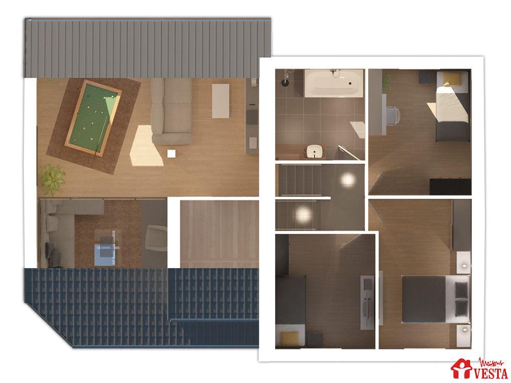 Maisons VESTA  Plan du rez-de-chaussée et du demi-niveau du modèle - plan maison demi sous sol