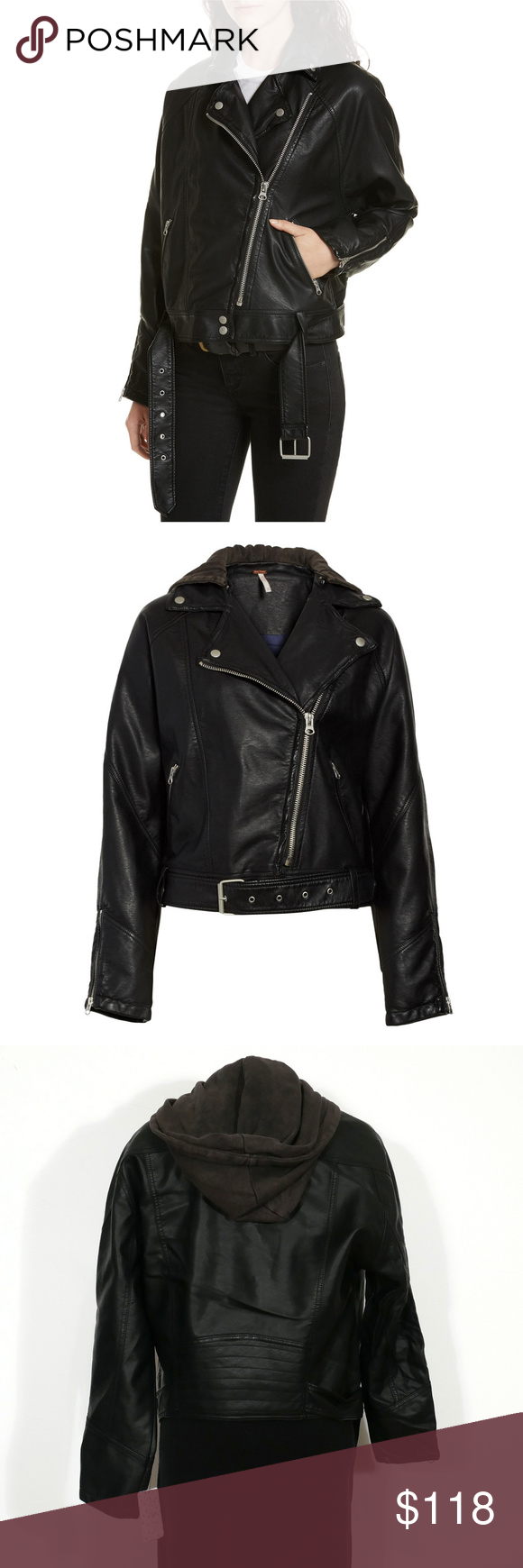FREE PEOPLE Drapey Faux Leather Moto Hood Jacket S NWT