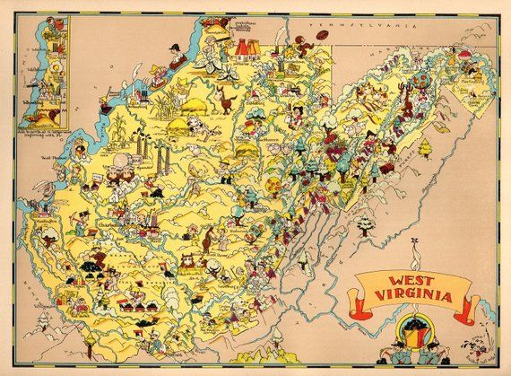 1930 S Vintage West Virginia Picture Map State Cartoon Map Print