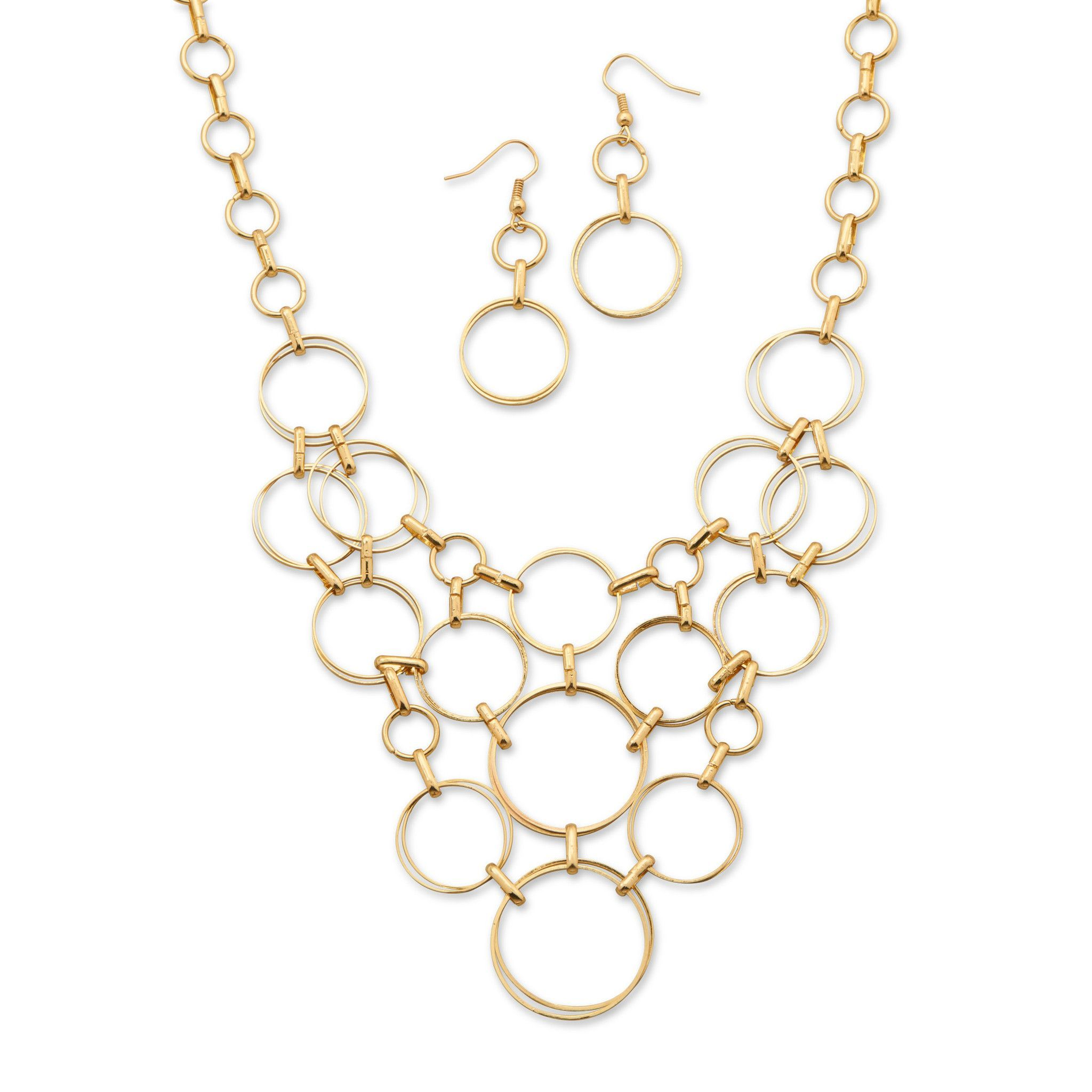 Gold tone circle fashion necklace and earring set necklace
