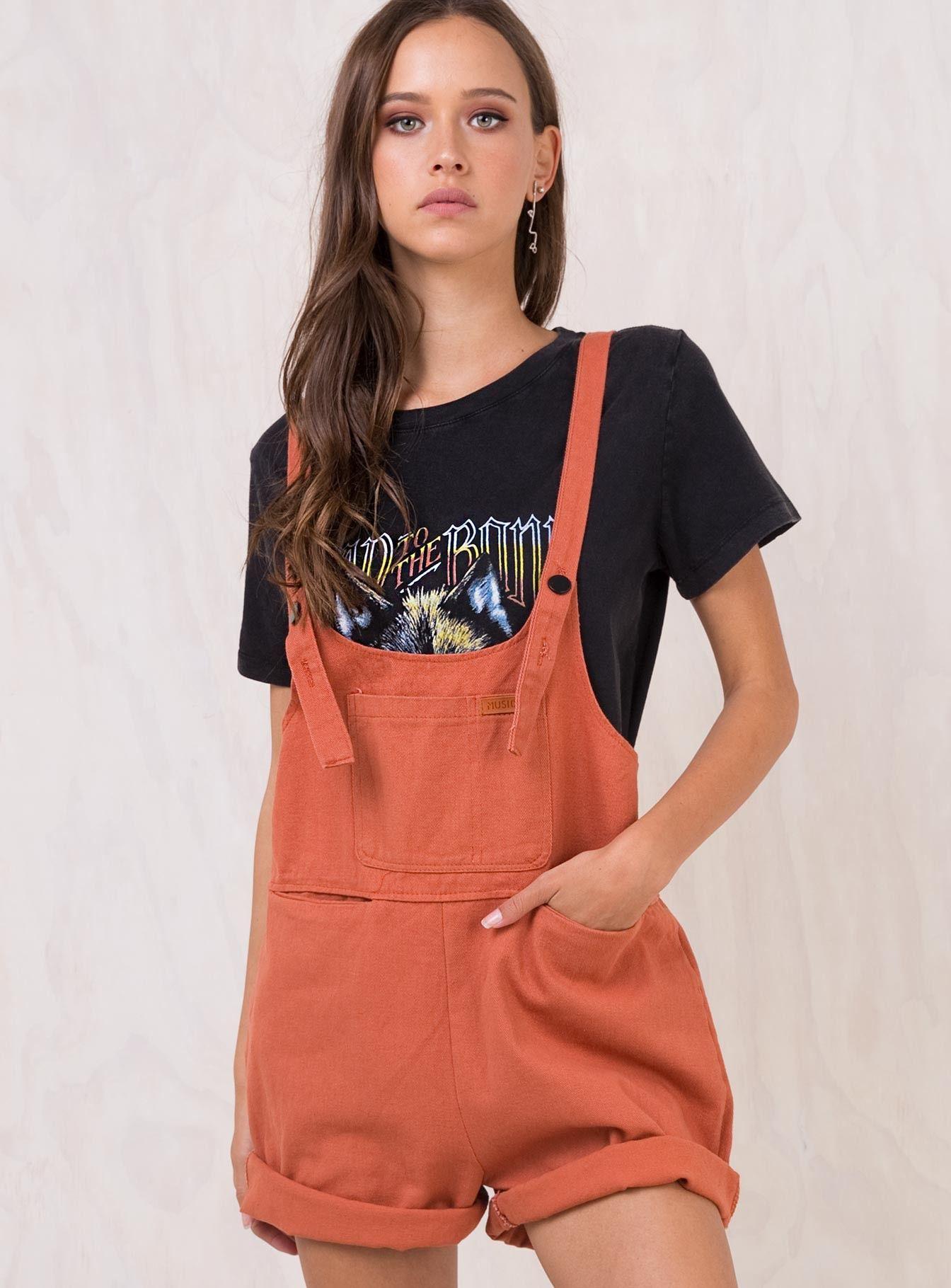 cb9e1aec6e Rust+Sloan+Denim+Overalls+-+ Oversized+denim+overalls 5+Pocket+design  Low+cut+scoop+neckline Adjustable+straps+with+button+fastening  Folded+cuff+on+shorts ...
