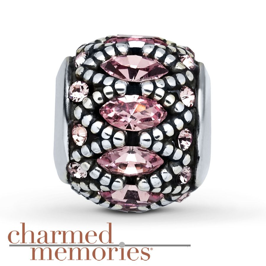 Charmed Memories Pink Crystal Bridal Charm Sterling Silver i5B7AFnZx
