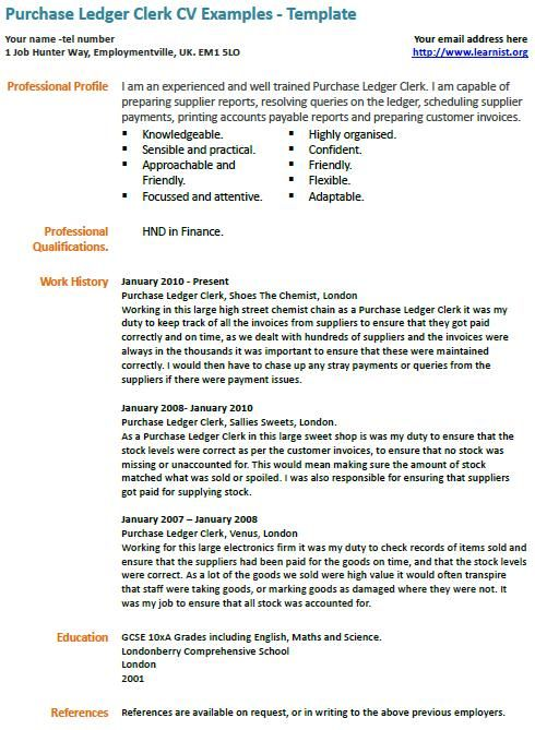 Purchase Ledger Clerk CV Example Interview Cv examples, Resume