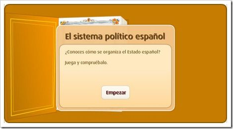 This is a web page where are a lot of activities using ICT about the Spanish political organization. From this web page we are interested in the following activities: ''Sistema político español'', the video: ''Cómo se organizan los poderes del Estado Español'' and the activity below the video. We think that we can use this kind of activities to show the children that they can play games and also they can learn with them