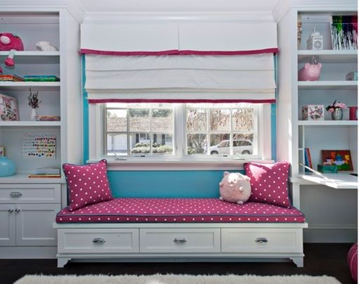 Decoraci n dormitorios y habitaciones dormitorios decorados con asientos bajo la ventana para - Muebles para cuarto de nina ...