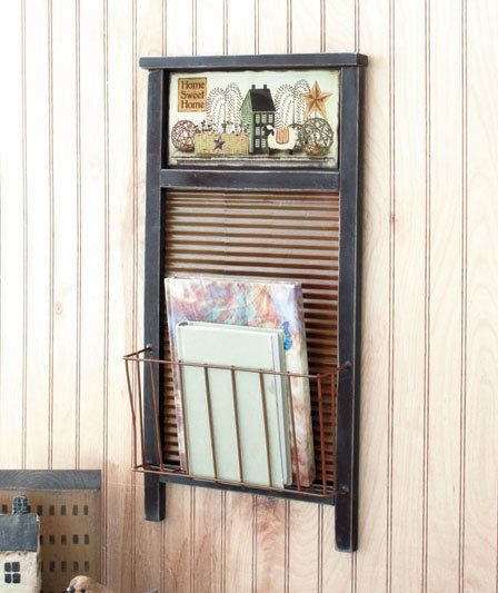 Home Sweet Home Country Rustic Primitive Washboard Basket Wall Rack Mail Holder Rusticprimitive Washboard Decor Laundry Room Decor Decor