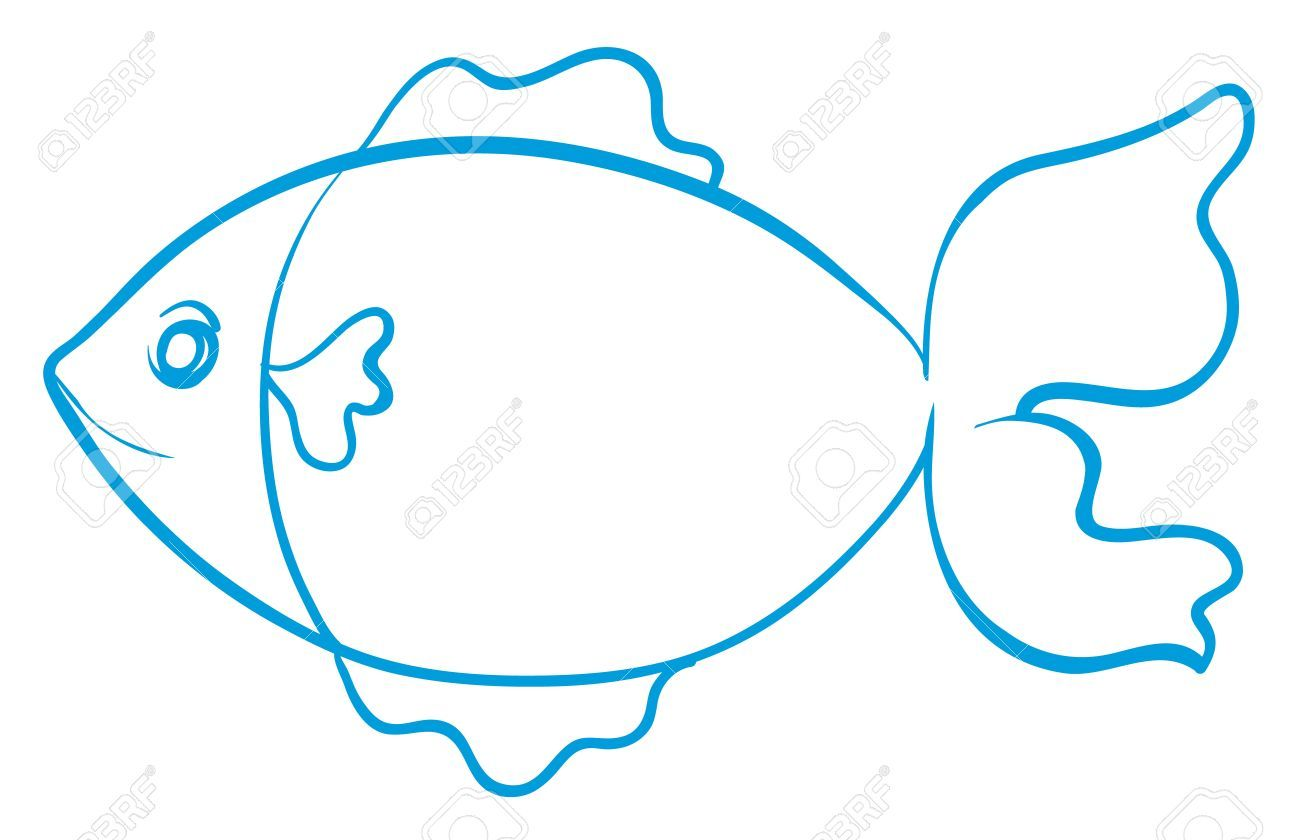 Pez con líneas azules, para colorear, pintar. Fondo blanco. | voda ...