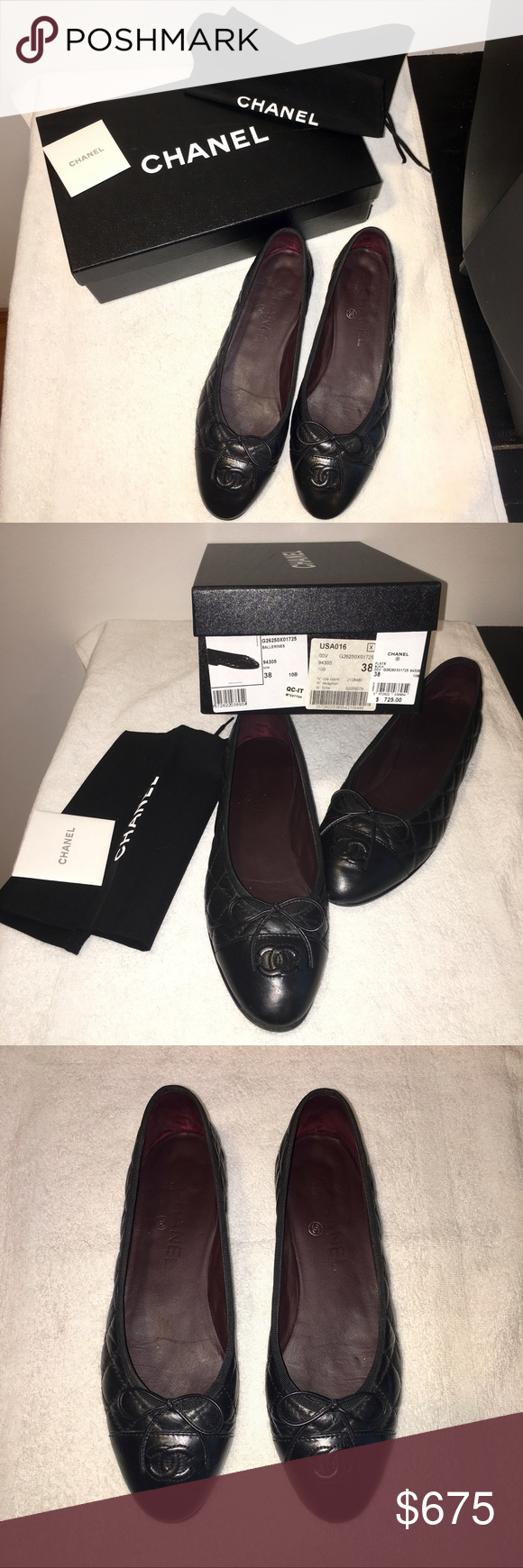 44b411c5cac CHANEL BLACK BALLERINA FLATS SIZE 38 LEATHER. QUILTED. WITH BOX AND DUST  BAG. RESOLED. WORN. CHANEL Shoes Flats   Loafers